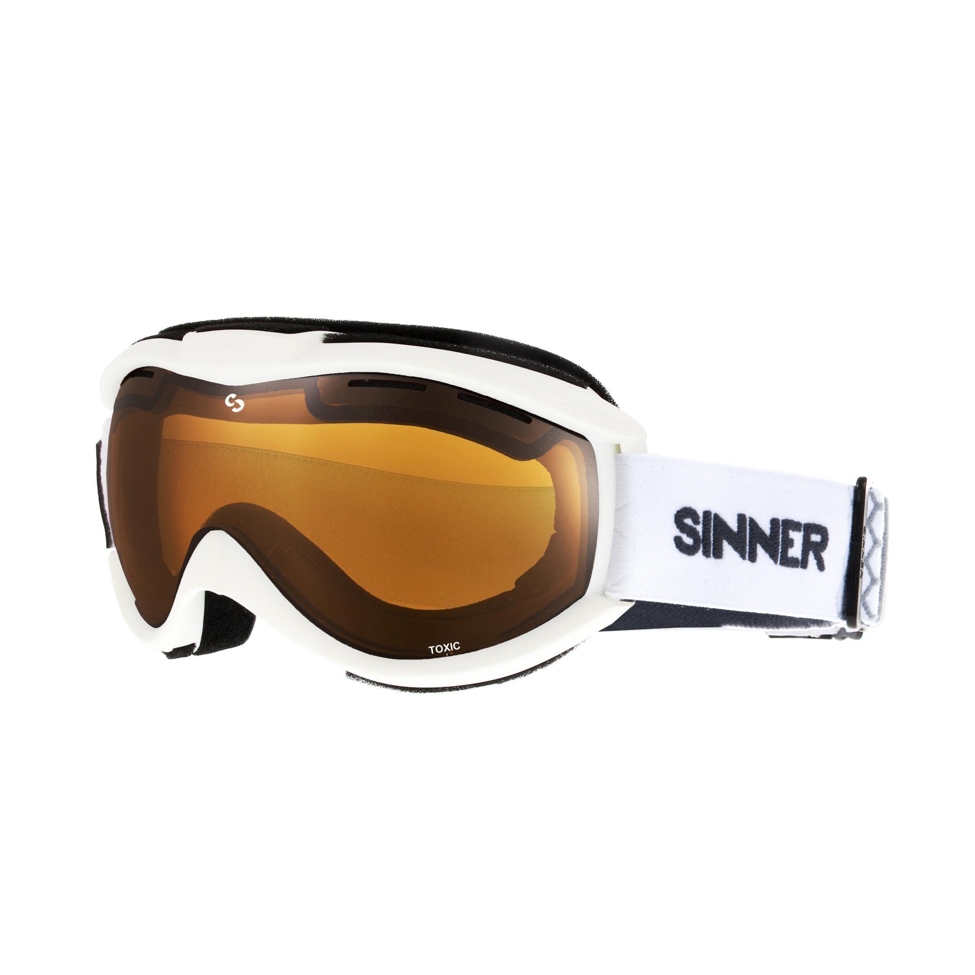 Sinner Toxic Skibril - Mat Wit - Oranje Spiegellens