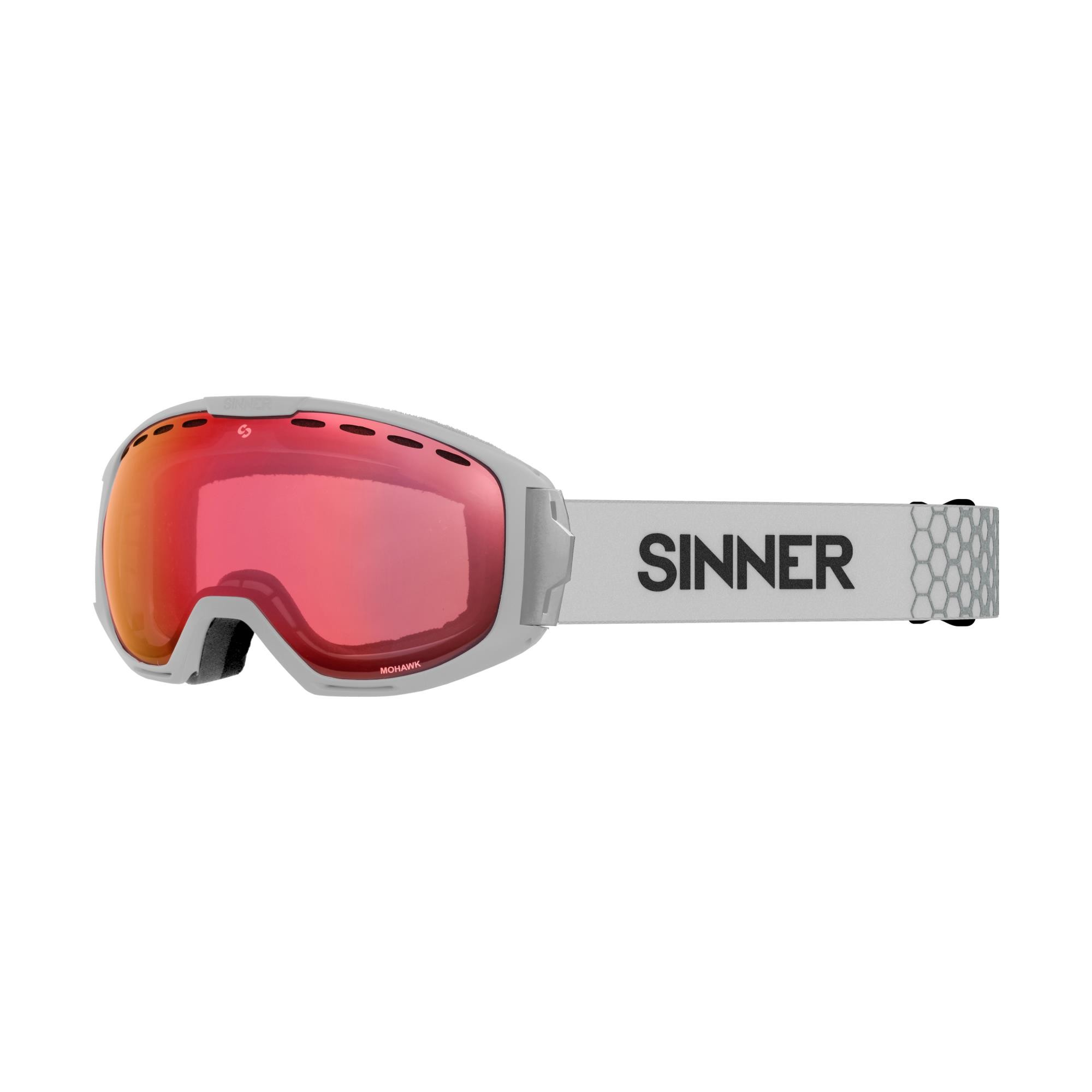 Sinner Mohawk Skibril - Mat Grijs - Rode Spiegellens + Extra Lens