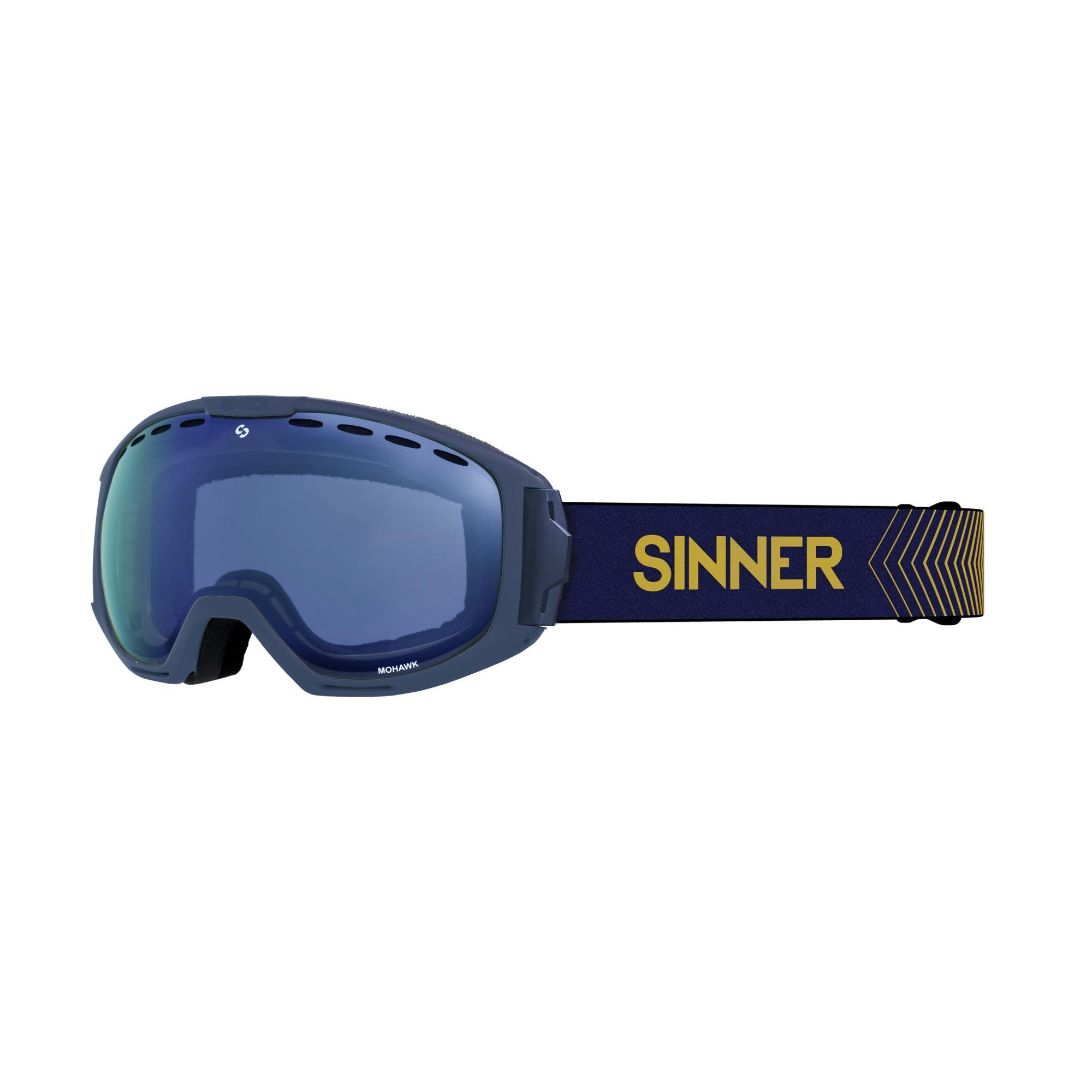 Sinner Mohawk Skibril - Blauw - Blauwe Spiegellens + Extra Roze Lens