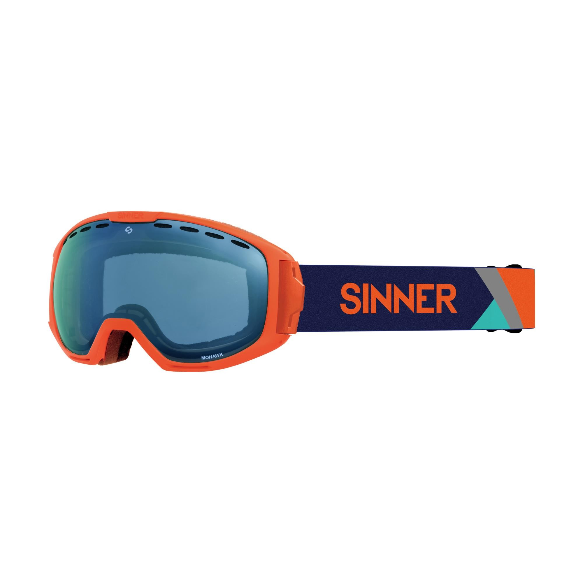 Sinner Mohawk Skibril - Oranje - Blauwe Spiegellens + Extra Roze Lens