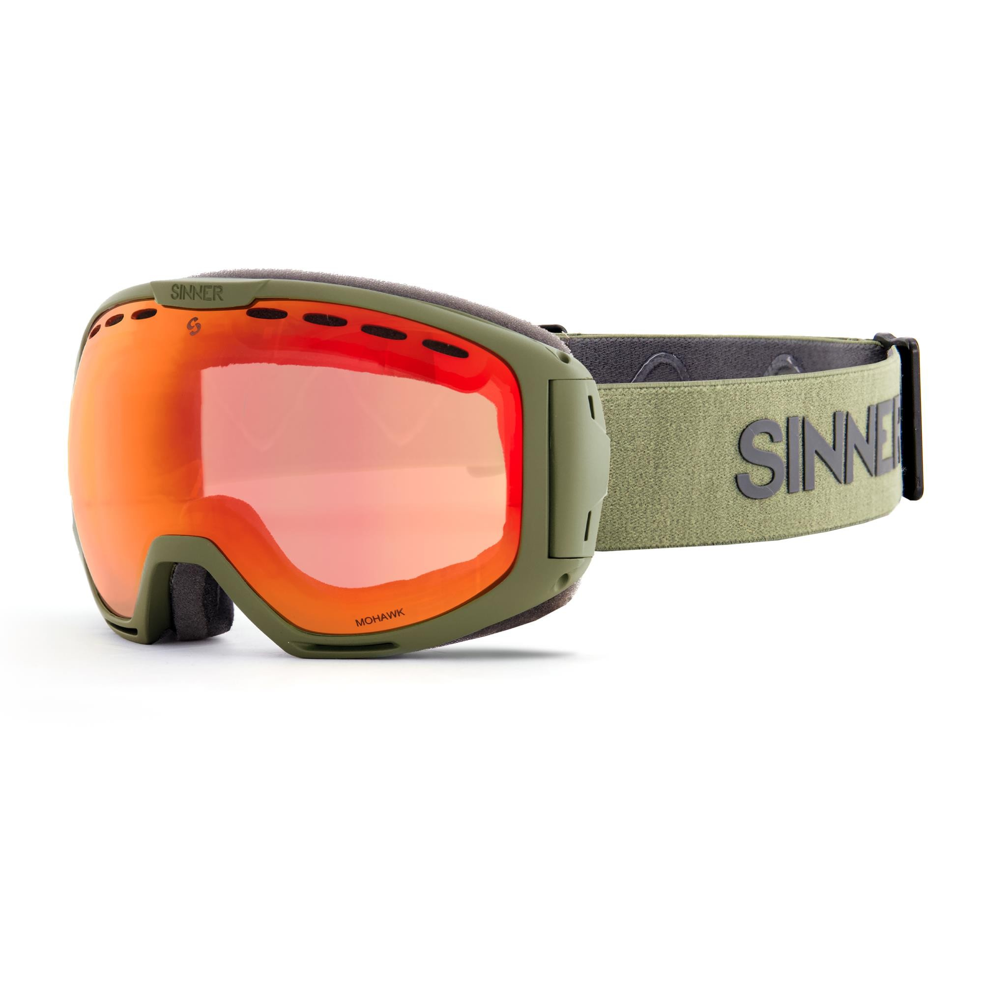 Sinner Mohawk Skibril - Groen - Rode Spiegellens + Extra Roze Lens