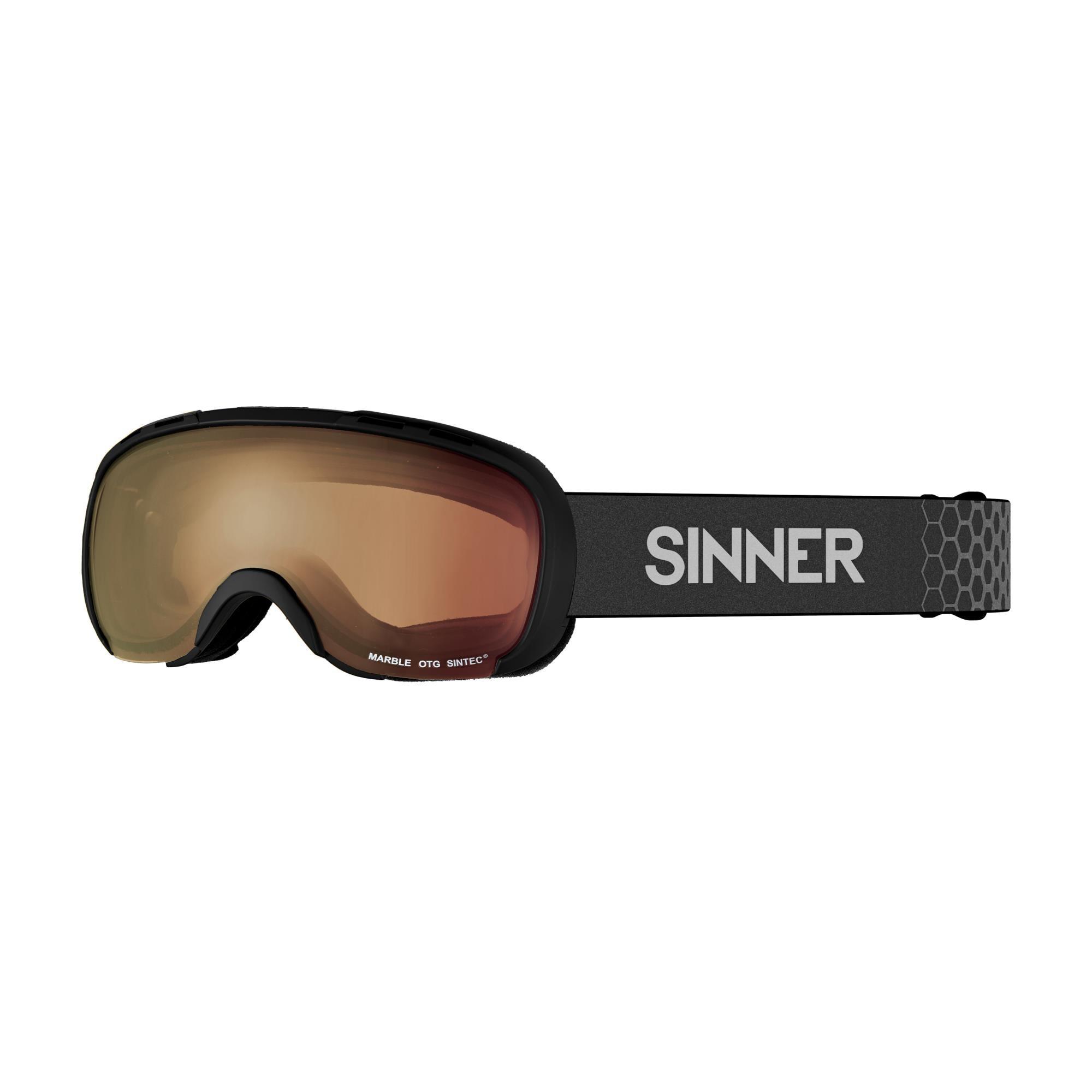 Sinner Marble Skibril Otg - Mat Zwart - Oranje Sintec® Lens