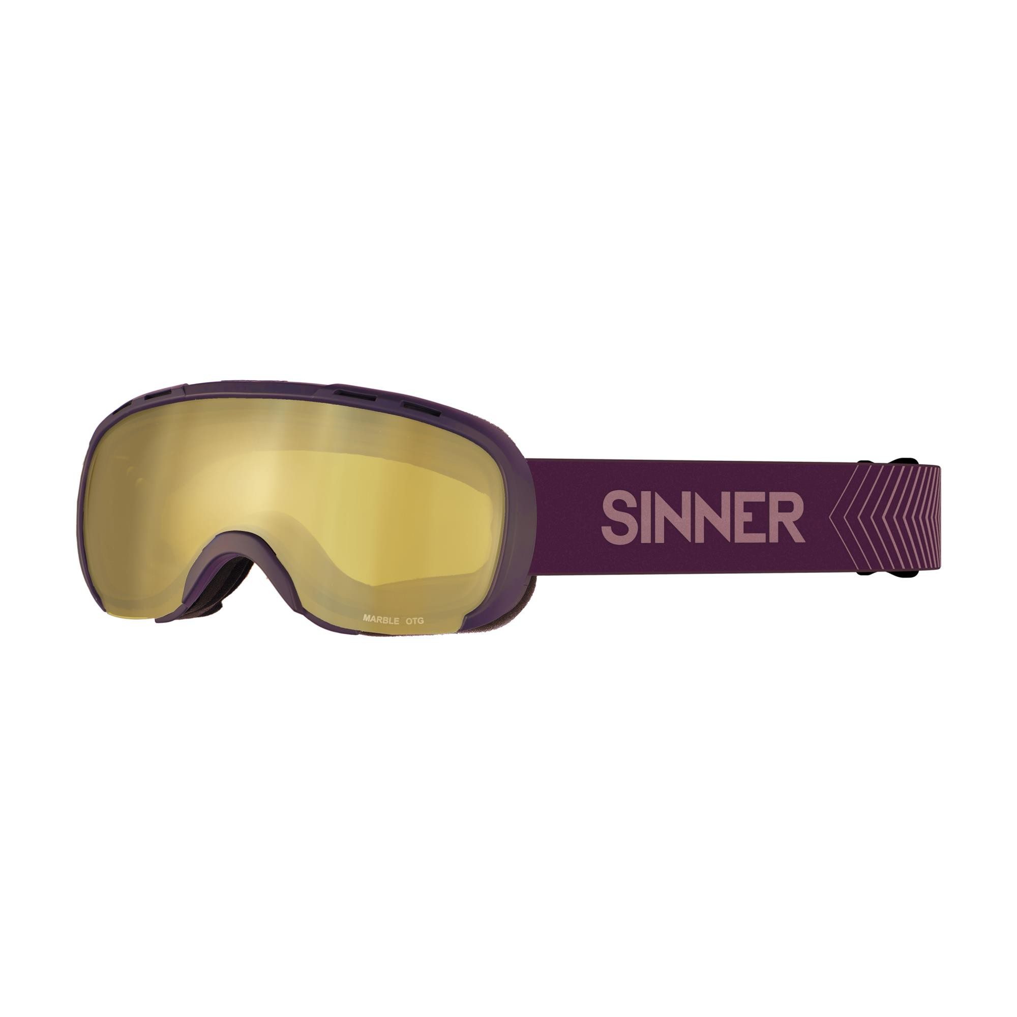 Sinner Marble Skibril Otg - Mat Paars - Goudkleurige Spiegellens