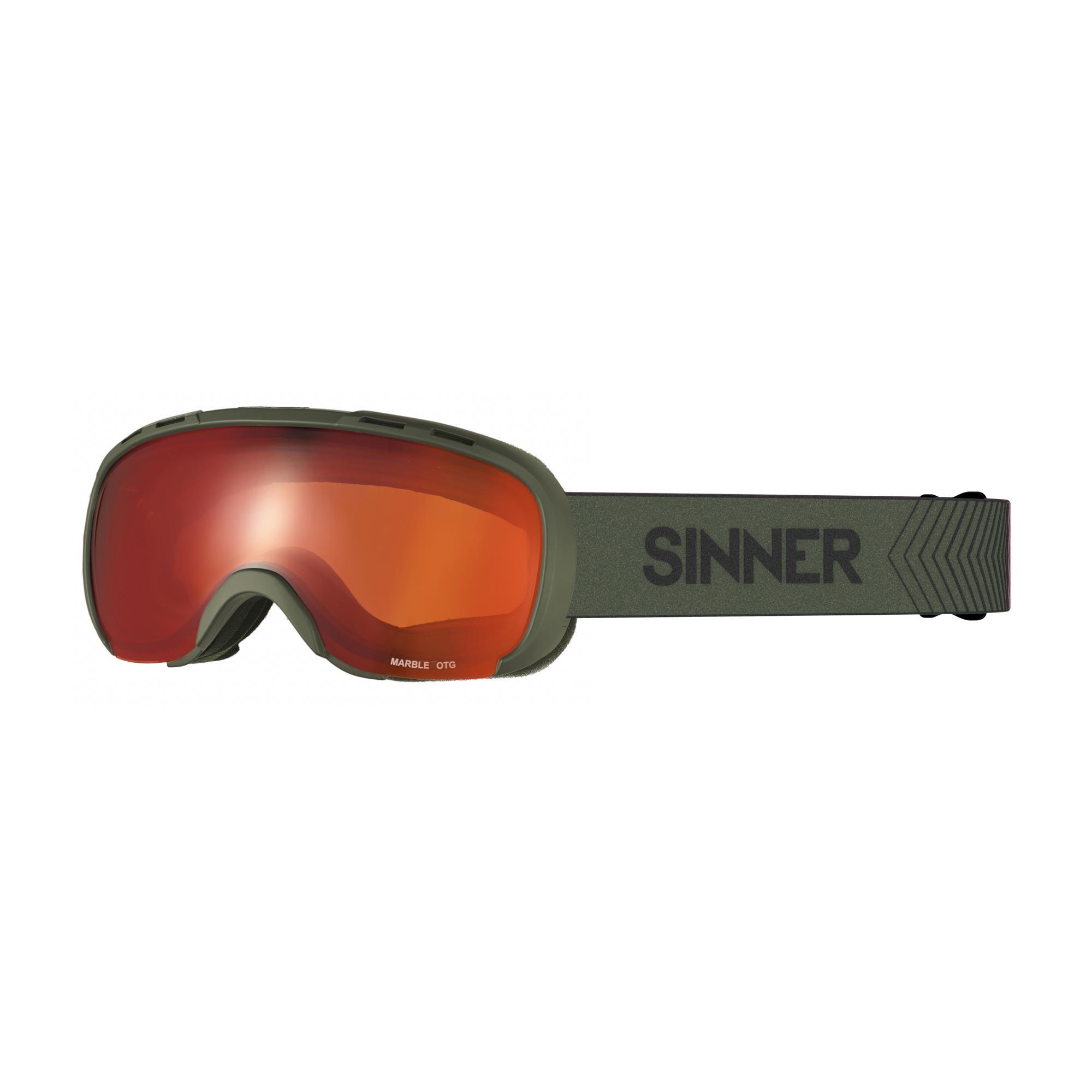 Sinner Marble Skibril Otg - Mat Mosgroen - Rode Spiegellens