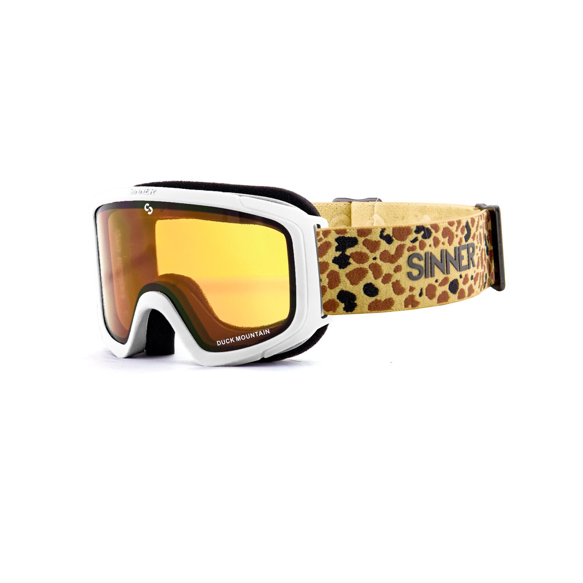 Sinner Duck Mountain Skibril Kinderen - Mat Wit - Goudkleurige Spiegellens