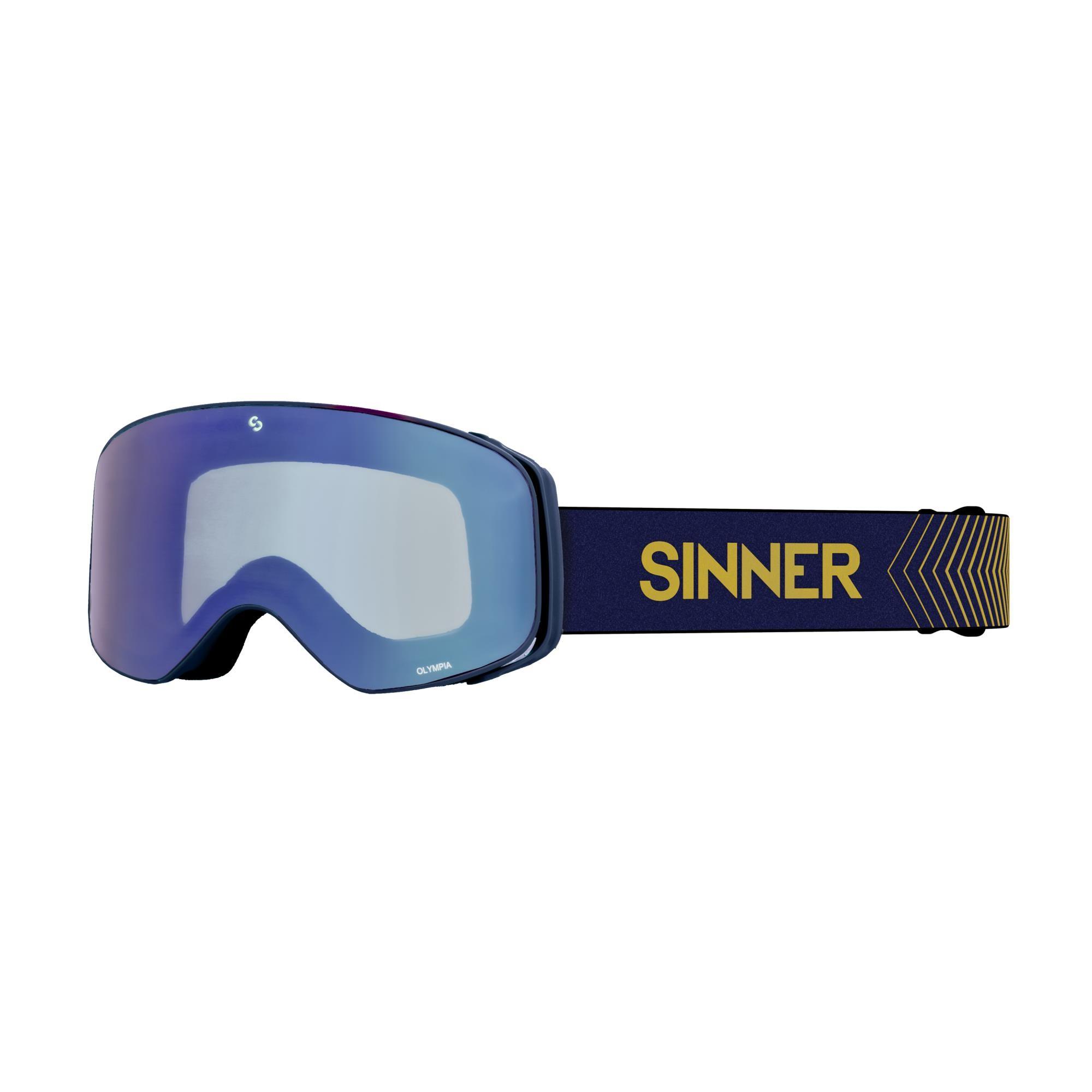 Sinner Olympia Skibril - Mat Donkerblauw - Volledig Blauwe Spiegellens