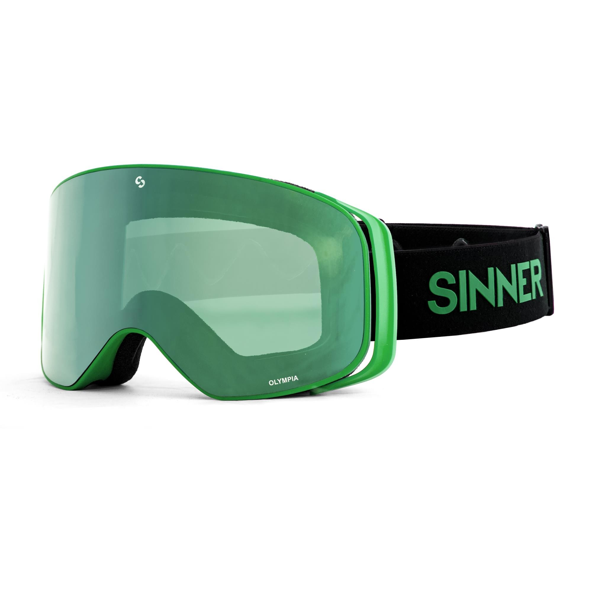 Sinner Olympia Skibril - Mat Groen - Volledig Groene Spiegellens