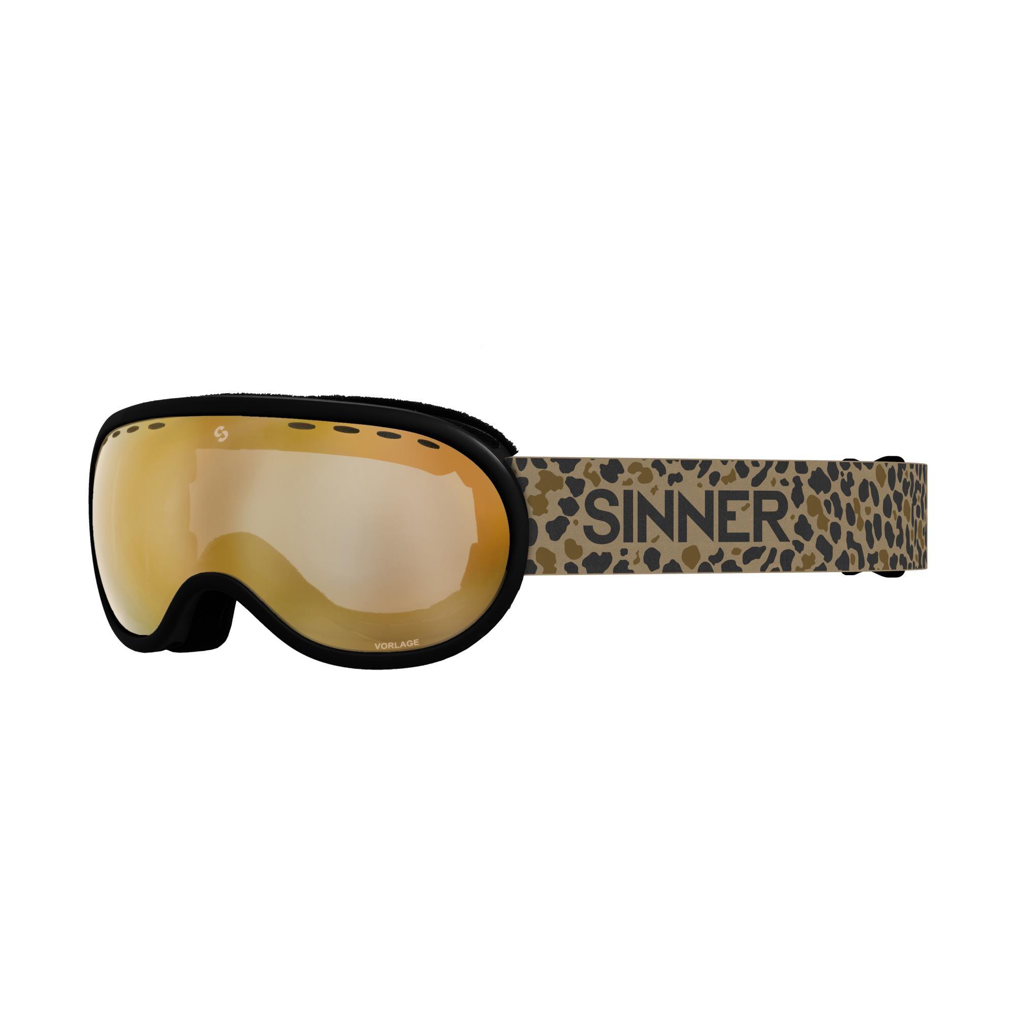 Sinner Vorlage Skibril - Mat Zwart - Bruin Goudkleurige Spiegellens