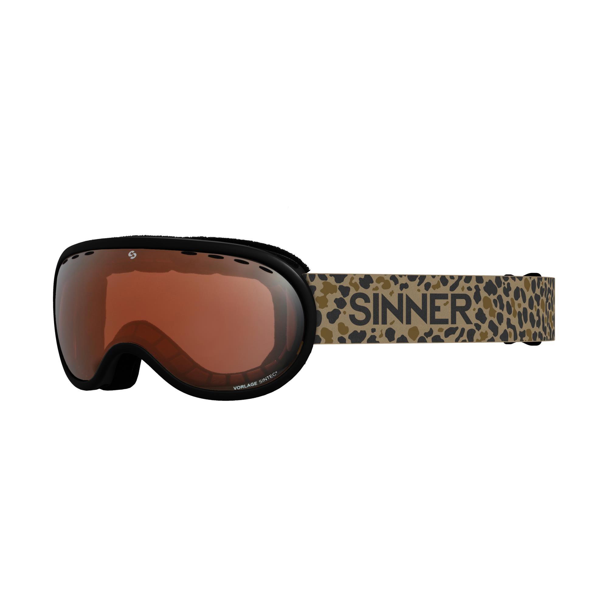 Sinner Vorlage Skibril - Mat Zwart - Dubbele Oranje Sintec®-Lens