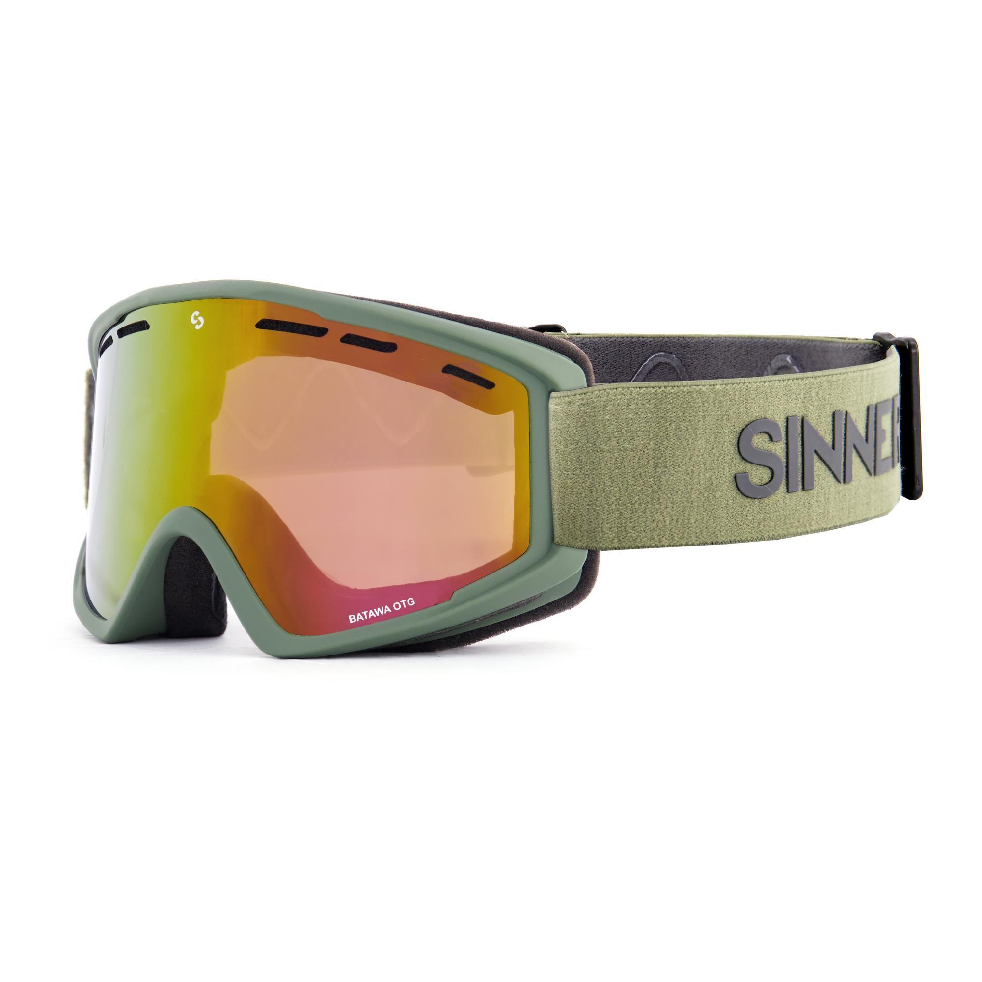 Sinner Batawa Skibril Otg - Mat Mosgroen Frame - Volledig Rode Spiegellens