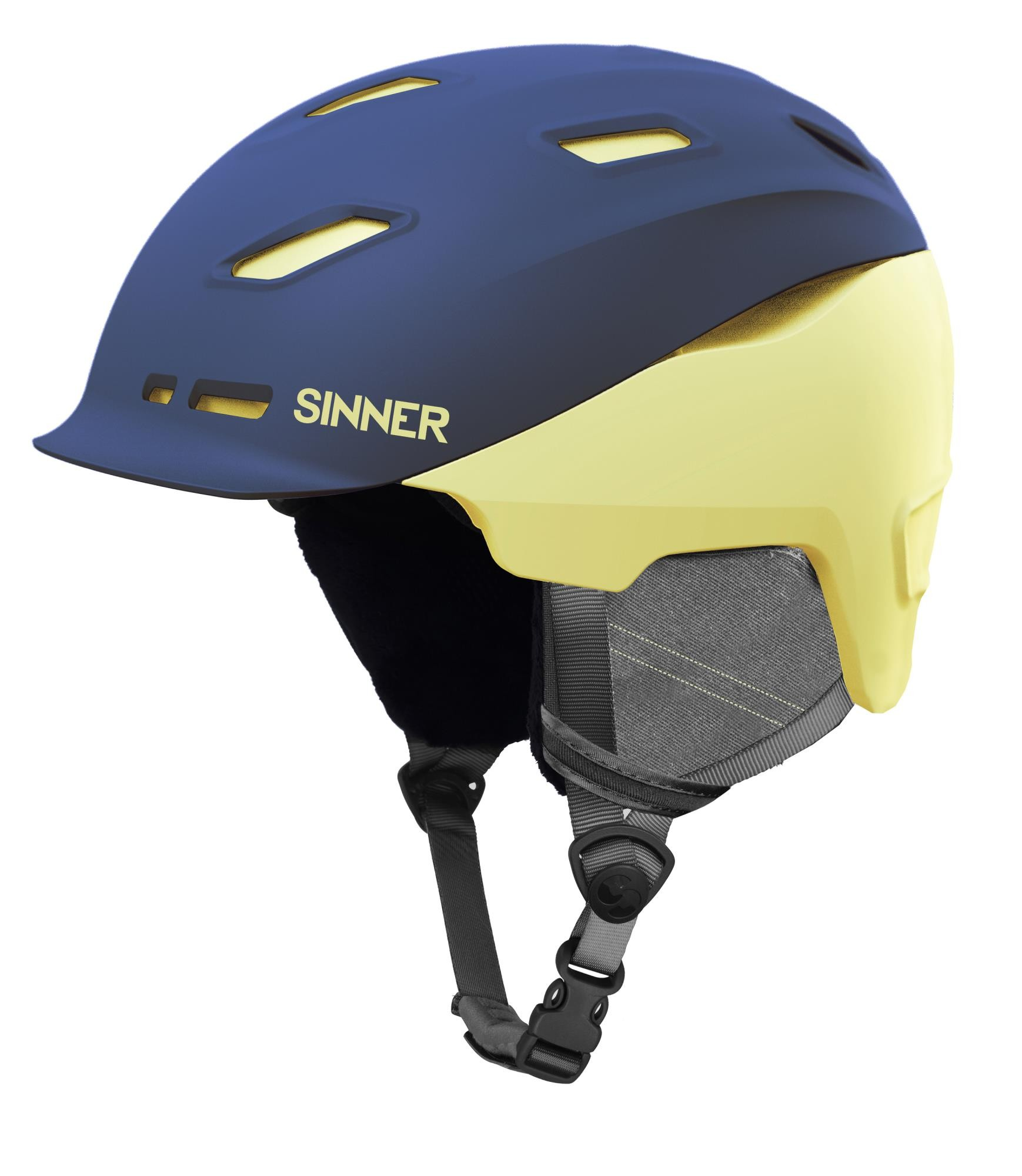 Sinner Moonstone Skihelm - Mat Donkerblauw/geel - Maat 61 - L