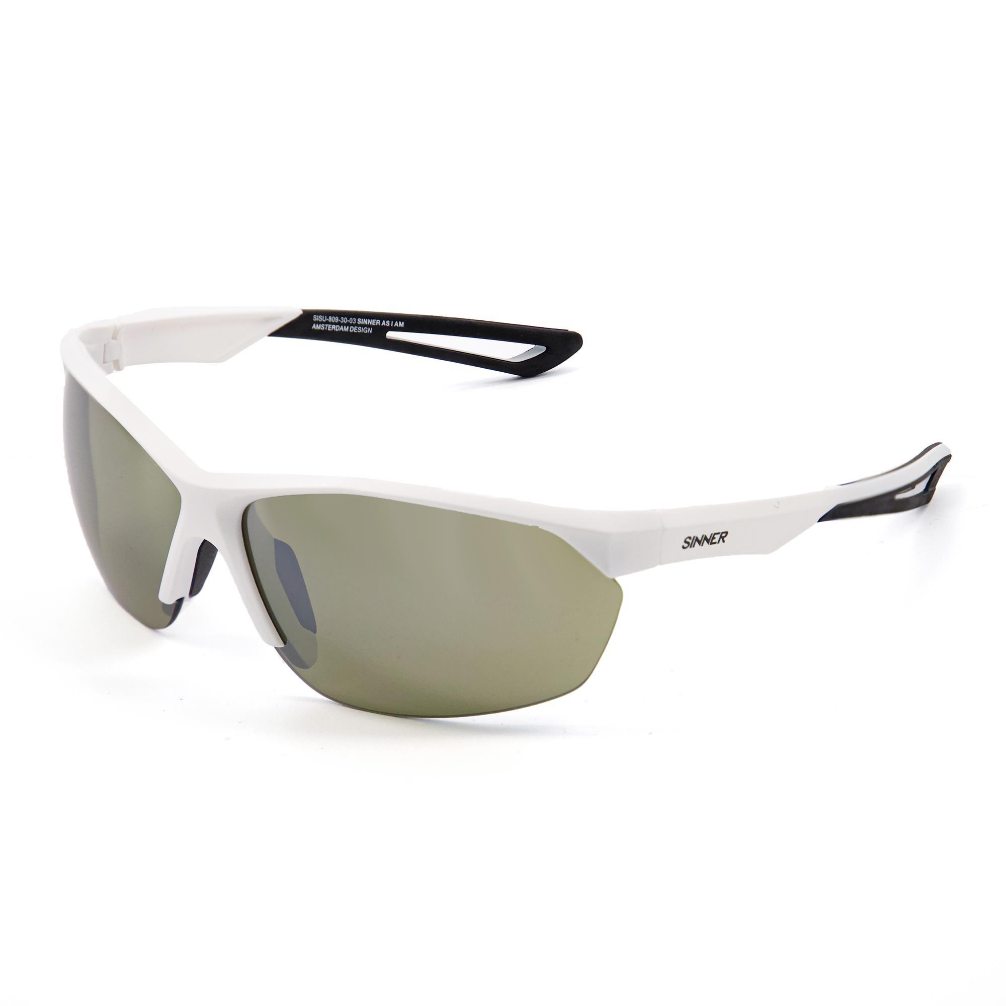 Sinner Pitch Golf Zonnebril - Mat Wit - Sintrast® Golf-lens
