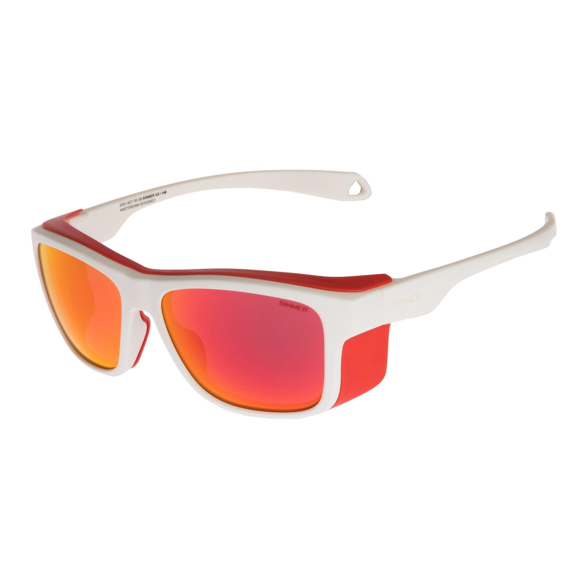 Sinner Whitepass Zonnebril - Mat Wit/rood - Sintrast® Sneeuw-lens