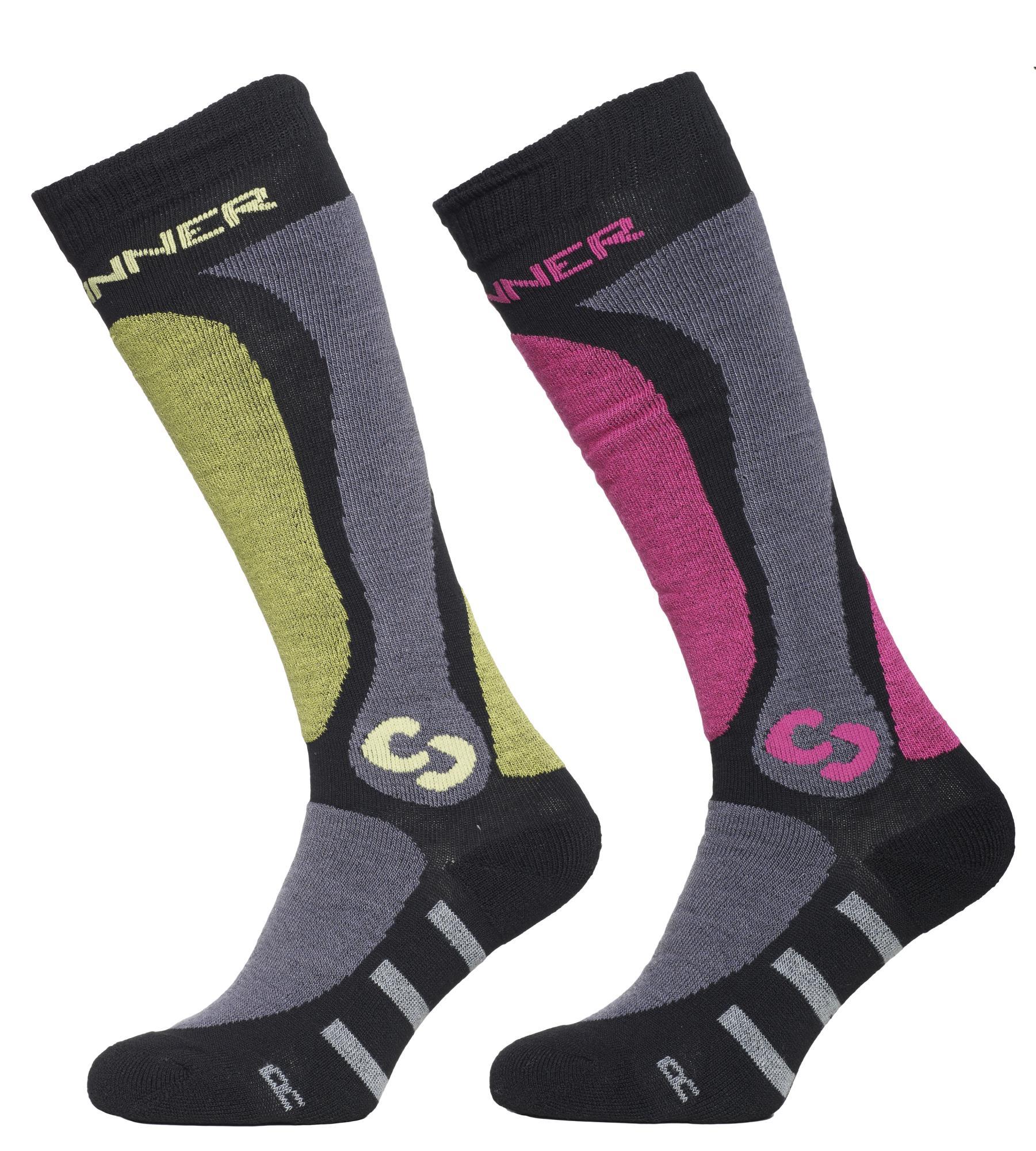 Sinner Skisokken Pro Socks Unisex - Groen Roze - 39-41